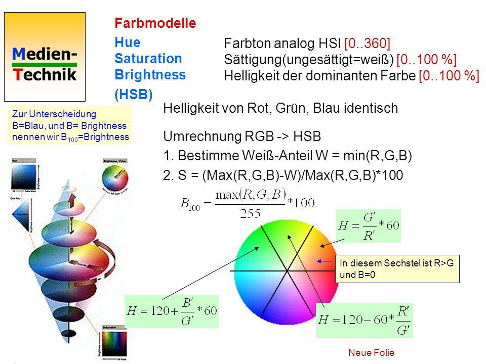 Medien- Technik Farbmodelle Hue Saturation Brightness (HSB) Farbton analog HSI [0..360] Sättigung(ungesättigt=weiß) [0..100 %] Helligkeit der dominant