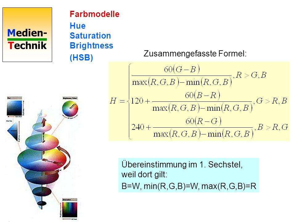 Medien- Technik Farbmodelle Hue Saturation Brightness (HSB) Übereinstimmung im 1. Sechstel, weil dort gilt: B=W, min(R,G,B)=W, max(R,G,B)=R Zusammenge