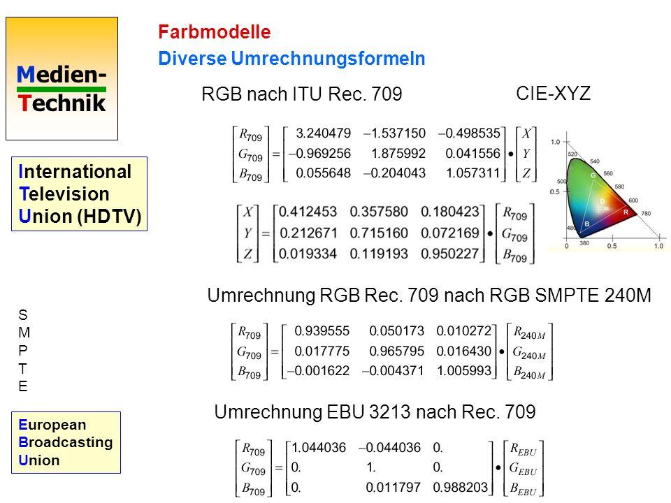 Medien- Technik Farbmodelle Diverse Umrechnungsformeln CIE-XYZ RGB nach ITU Rec. 709 Umrechnung RGB Rec. 709 nach RGB SMPTE 240M Umrechnung EBU 3213 n