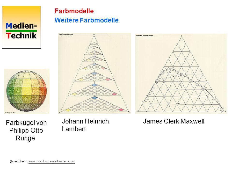 Medien- Technik Farbmodelle Weitere Farbmodelle Farbkugel von Philipp Otto Runge Johann Heinrich Lambert James Clerk Maxwell Quelle: www.colorsystems.