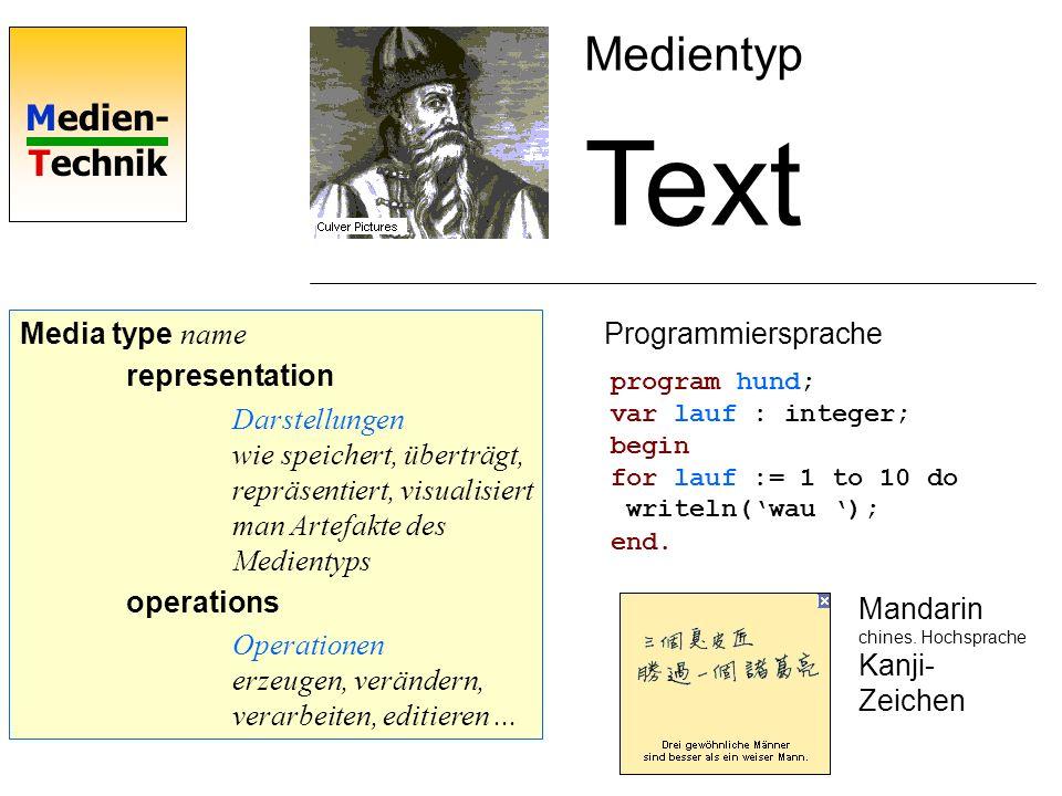 Medien- Technik Media type Text representation Kodierung: ASCII (American Standard for Information Interchange) operations Operationen erzeugen, verändern, verarbeiten, editieren...