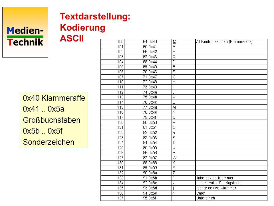 Medien- Technik Textdarstellung: Kodierung ASCII 0x40 Klammeraffe 0x41.. 0x5a Großbuchstaben 0x5b.. 0x5f Sonderzeichen