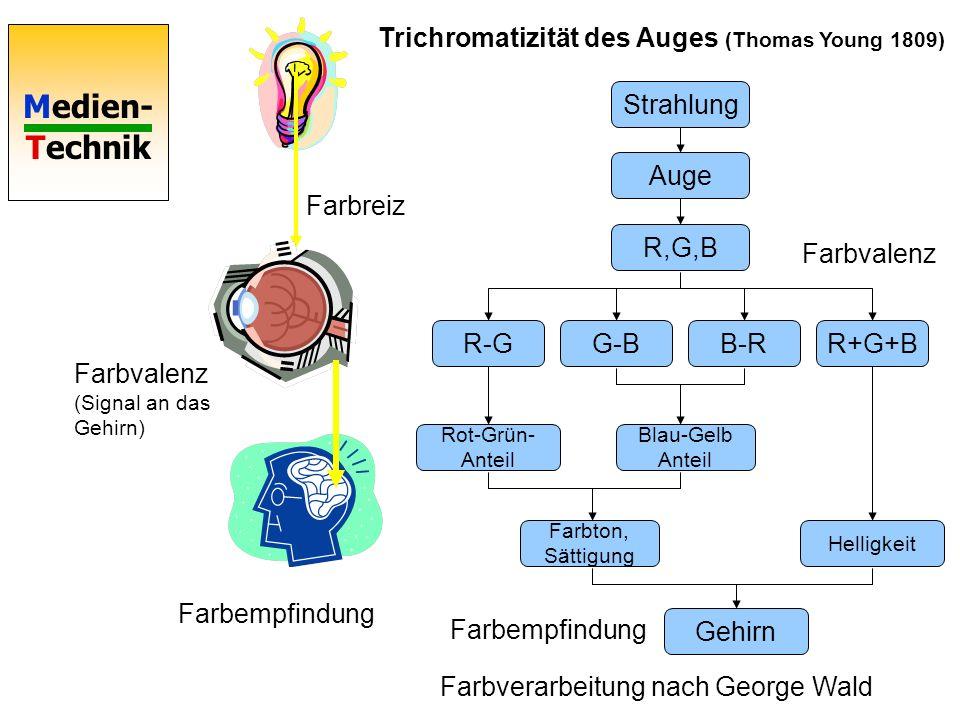 Medien- Technik Farbreiz Farbvalenz (Signal an das Gehirn) Farbempfindung Strahlung Auge R,G,B R-GG-BB-RR+G+B Rot-Grün- Anteil Blau-Gelb Anteil Farbton, Sättigung Helligkeit Gehirn Trichromatizität des Auges (Thomas Young 1809) Farbempfindung Farbvalenz Farbverarbeitung nach George Wald