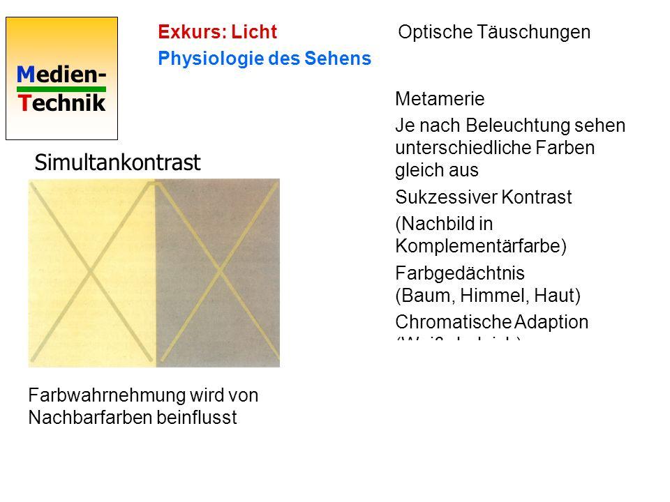 Medien- Technik Simultankontrast Metamerie Je nach Beleuchtung sehen unterschiedliche Farben gleich aus Sukzessiver Kontrast (Nachbild in Komplementärfarbe) Farbgedächtnis (Baum, Himmel, Haut) Chromatische Adaption (Weißabgleich) Farbwahrnehmung wird von Nachbarfarben beinflusst Exkurs: Licht Physiologie des Sehens Simultankontrast Farbwahrnehmung wird von Nachbarfarben beinflusst Exkurs: Licht Physiologie des Sehens Optische Täuschungen