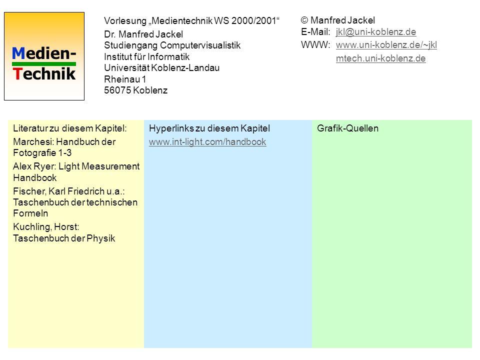 Medien- Technik Vorlesung Medientechnik WS 2000/2001 Dr.