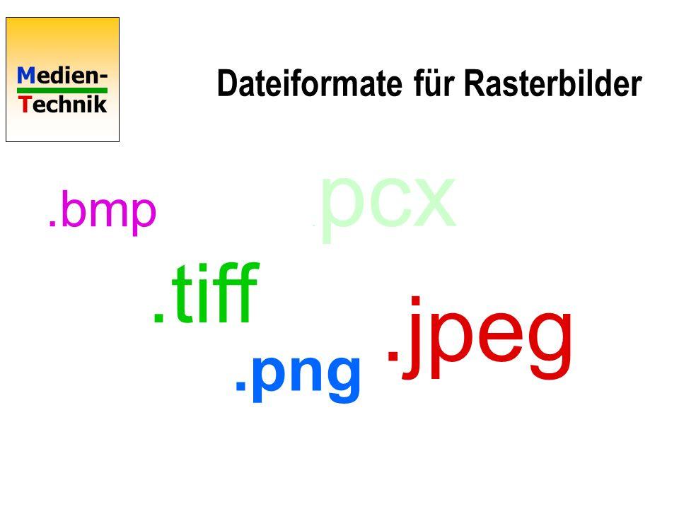 Medien- Technik Windows Bitmap BitmapFileHeader BitmapInfoHeader RGBQuad array Color-Index array Dateiaufbau.BMP typedef struct tagBITMAPFILEHEADER { WORD bfType; BM Magic numberbfType DWORD bfSize; DateigrößebfSize WORD bfReserved1; 0bfReserved1 WORD bfReserved2; 0bfReserved2 DWORD bfOffBits; Offset Color IndexbfOffBits } BITMAPFILEHEADER, *PBITMAPFILEHEADER; typedef struct tagBITMAPINFOHEADER{ DWORD biSize; Länge des HeadersbiSize LONG biWidth; Breite in PixelbiWidth LONG biHeight; Höhe in Pixel + - biHeight WORD biPlanes; Muss 1 sein !biPlanes WORD biBitCount Bit pro Pixel (1-32)biBitCount DWORD biCompression; ohne RLE JPEG PNGbiCompression DWORD biSizeImage; Datei- PuffergrößebiSizeImage LONG biXPelsPerMeter; AusgabeauflösungbiXPelsPerMeter LONG biYPelsPerMeter;biYPelsPerMeter DWORD biClrUsed; 0 oder Anzahl FarbenbiClrUsed DWORD biClrImportant; 0 oder wichtige F.biClrImportant } BITMAPINFOHEADER, *PBITMAPINFOHEADER; DWORD 32 Bit o.