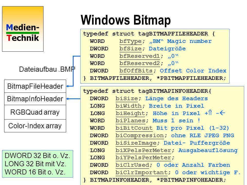 Medien- Technik Windows Bitmap BitmapFileHeader BitmapInfoHeader RGBQuad array Color-Index array Dateiaufbau.BMP...