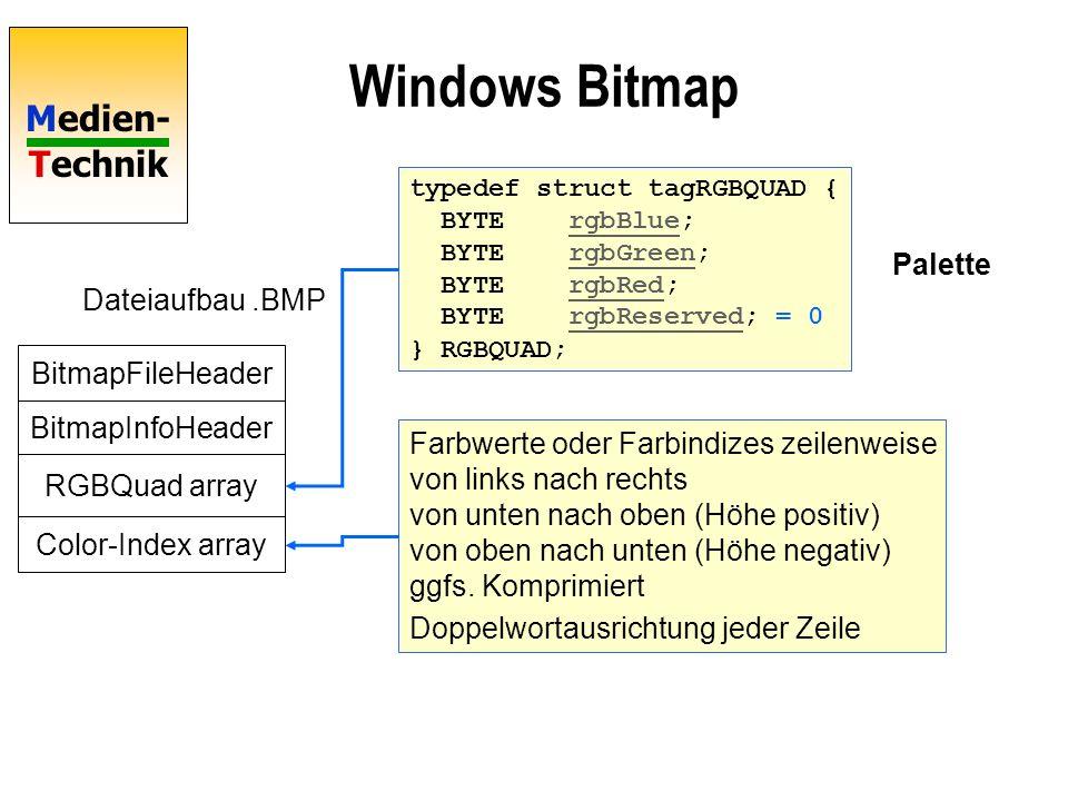 Medien- Technik Windows Bitmap RGB-Bitmap 10*8 Höhe*Breite Höhe Ebenen Bits/Pixel Zeile 8 Magic number Dateilänge Offset