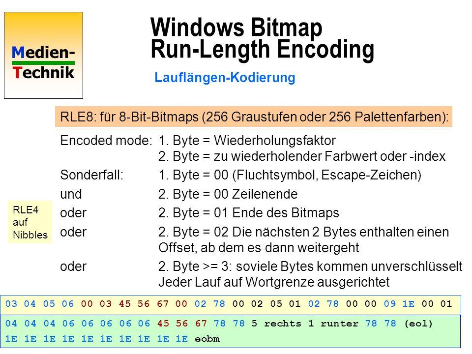 Medien- Technik Windows Bitmap Run-Length Encoding Lauflängen-Kodierung RLE8: für 8-Bit-Bitmaps (256 Graustufen oder 256 Palettenfarben): Encoded mode