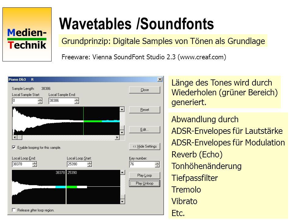 Medien- Technik Wavetables /Soundfonts Grundprinzip: Digitale Samples von Tönen als Grundlage Freeware: Vienna SoundFont Studio 2.3 (www.creaf.com) Länge des Tones wird durch Wiederholen (grüner Bereich) generiert.