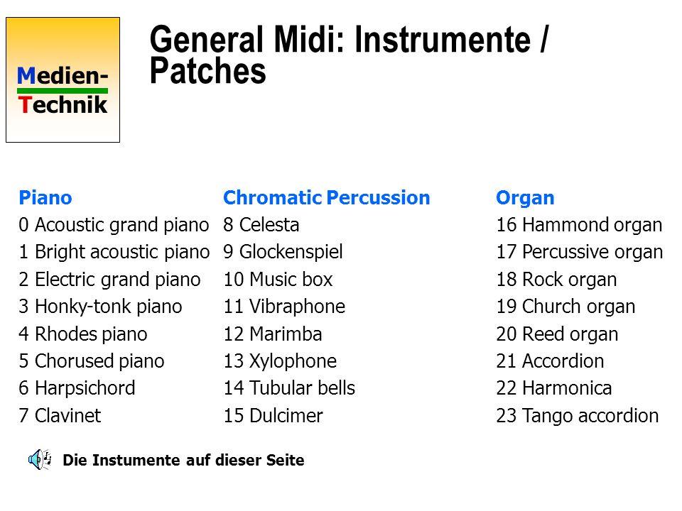 Medien- Technik General Midi Standard-Belegung für Instrumente und Controller 24 Tracks =Stimmen Inkl. Schlagzeug 16 polyphone Kanäle = versch. Instru