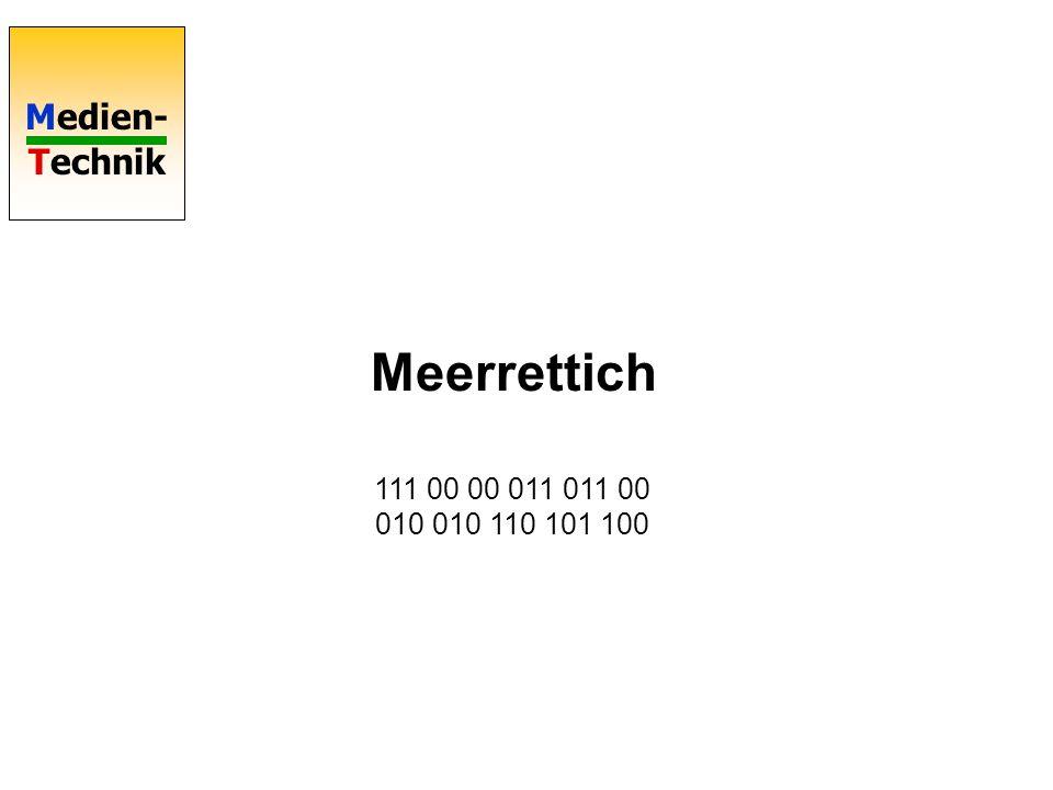 Medien- Technik TIFF: Tagged Image File Format Kompression nach CCITT Schritt 1:Lauflängencodierung Schritt 2:Die Längenangaben nach Huffmann codieren Die Häufigkeiten werden einer Tabelle entnommen Unterschiedliche Codierung von schwarzen und weißen Läufen (Fax!) White run Code length word 0 00110101 1 000111 2 0111 3 1000 4 1011 5 1100 6 1110 7 1111 8 10011 9 10100 10 00111 11 01000 Black run Code length word 0 0000110111 1 010 2 11 3 10 4 011 5 0011 6 0010 7 00011 8 000101 9 000100 100000100