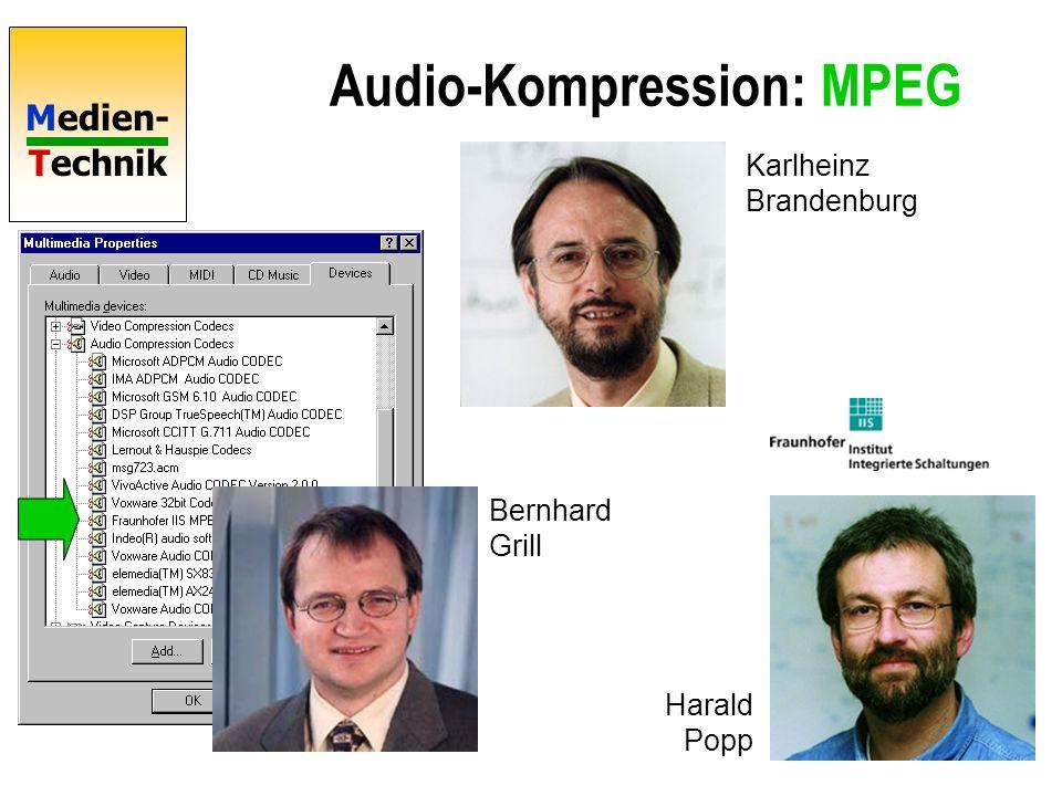 Medien- Technik Audio-Kompression: MPEG MPEG 1: ISO/IEC IS 11172 (1988-1992) Ziel: Digitales Video auf CD 1,5 Mbit/s MPEG 1 Audio: ISO/IEC IS 11172-3 3 Schichten wachsender Komplexität MPEG 1 Layer 3 = MP3 Moving Pictures Experts Group Offizieller Name ISO/IEC JTC1/SC29/ WG11