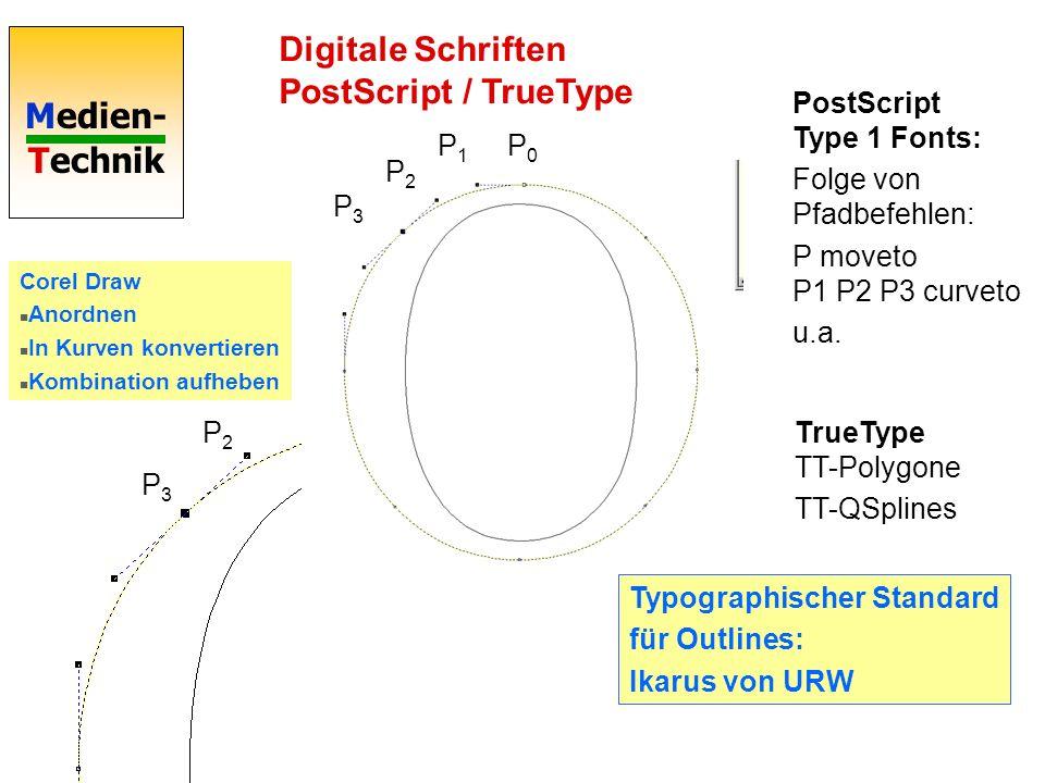 Medien- Technik Digitale Schriften Bezier-Kurven Verallgemeinerung auf n+1 Stützpunkte P 0.. P n : P 0.. P n-1 P 1.. P n Definition durch Rekursion D