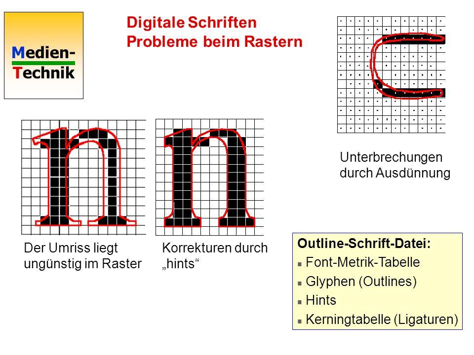 Medien- Technik Digitale Schriften PostScript / TrueType P0P0 P1P1 P2P2 P3P3 P2P2 P3P3 TrueType TT-Polygone TT-QSplines PostScript Type 1 Fonts: Folge