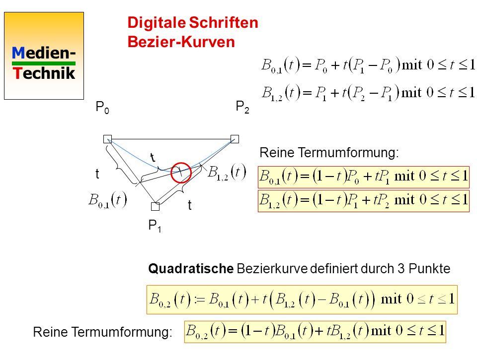Medien- Technik Digitale Schriften Bezier-Kurven P0P0 P2P2 P1P1 t t Quadratische Bezierkurve definiert durch 3 Punkte t