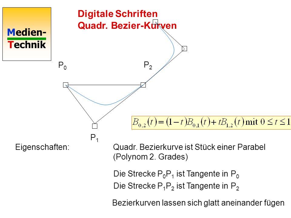 Medien- Technik Digitale Schriften Bezier-Kurven P0P0 P2P2 P1P1 t t Reine Termumformung: t Quadratische Bezierkurve definiert durch 3 Punkte Reine Ter