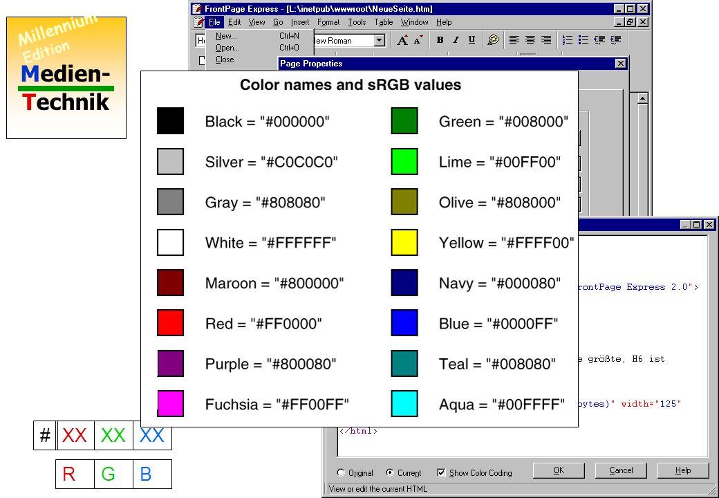Medien- Technik Millennium Edition 9 Gratis: Frontpage Express Netscape Composer Shareware: Hotmetal Käuflich: MS Frontpage MS Visual Interdev Adobe Pagemill Hotmetal Pro Wie man den Hintergrund färbt