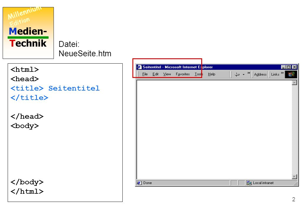 Medien- Technik Millennium Edition 1 Minimales HTML-Dokument Datei: NeueSeite.htm Wie man einen Seitentitel einfügt Seitentitel