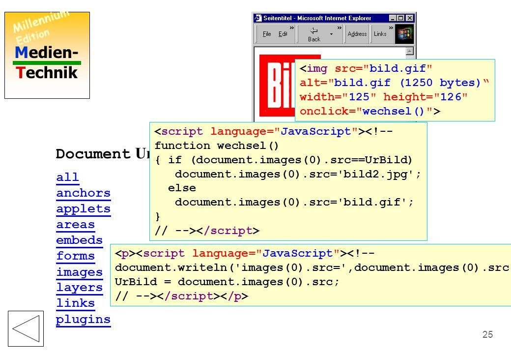 Medien- Technik Millennium Edition 24 Document Eigenschaften: alinkColor (Farbe für Verweise beim Anklicken) bgColor (Hintergrundfarbe) charset (verwendeter Zeichensatz) cookie (beim Anwender speicherbare Zeichenkette) defaultCharset (normaler Zeichensatz) fgColor (Farbe für Text) lastModified (letzte Änderung am Dokument) linkColor (Farbe für Verweise) referrer (zuvor besuchte Seite) title (Titel der Datei) URL (URL-Adresse der Datei) vlinkColor (Farbe für Verweise zu besuchten Zielen) <!-- document.writeln( alinkColor= ,document.alinkColor, ); document.writeln( bgColor= ,document.bgColor, ); document.writeln( charset= ,document.charset, ); document.writeln( cookie= ,document.cookie, ); document.writeln( defaultCharset= ,document.defaultCharset, ); document.writeln( fgColor= ,document.fgColor, ); document.writeln( lastModified= ,document.lastModified, ); document.writeln( linkColor= ,document.linkColor, ); document.writeln( referrer= ,document.referrer, ); document.writeln( title= ,document.title, ); document.writeln( URL= ,document.URL, ); document.writeln( vlinkColor= ,document.vlinkColor, ); // -->