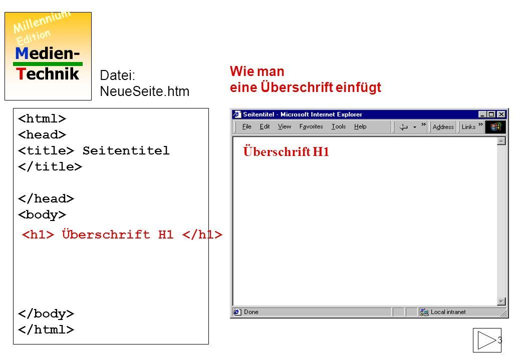 Medien- Technik Millennium Edition 2 Seitentitel Datei: NeueSeite.htm