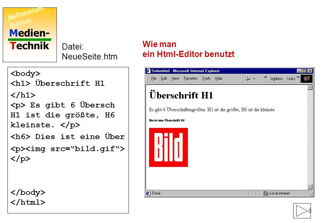 Medien- Technik Millennium Edition 7 Überschrift H1 Es gibt 6 Übersch H1 ist die größte, H6 kleinste. Dies ist eine Über Datei: NeueSeite.htm