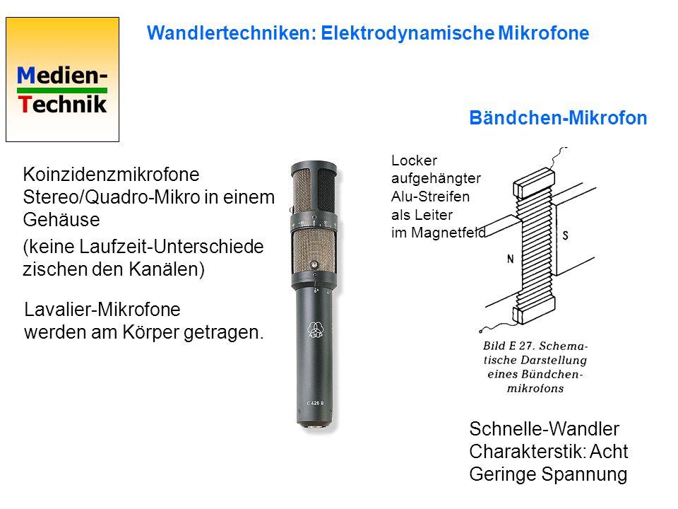 Medien- Technik Bändchen-Mikrofon Schnelle-Wandler Charakterstik: Acht Geringe Spannung Locker aufgehängter Alu-Streifen als Leiter im Magnetfeld Wand