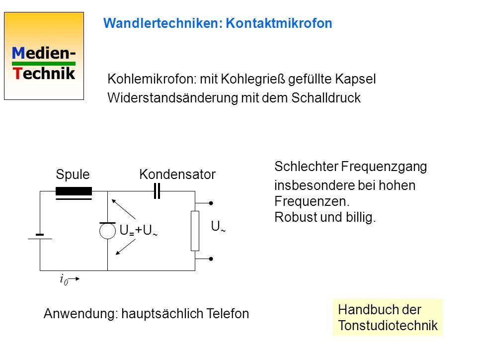 Medien- Technik Wandlertechniken: Kontaktmikrofon i0i0 SpuleKondensator U = +U ~ U~U~ Kohlemikrofon: mit Kohlegrieß gefüllte Kapsel Widerstandsänderun