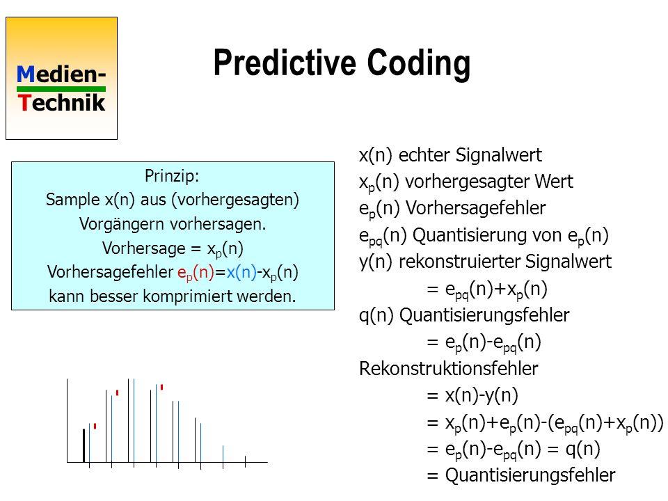 Medien- Technik Predictive Coding Prinzip: Sample x(n) aus (vorhergesagten) Vorgängern vorhersagen. Vorhersage = x p (n) Vorhersagefehler e p (n)=x(n)