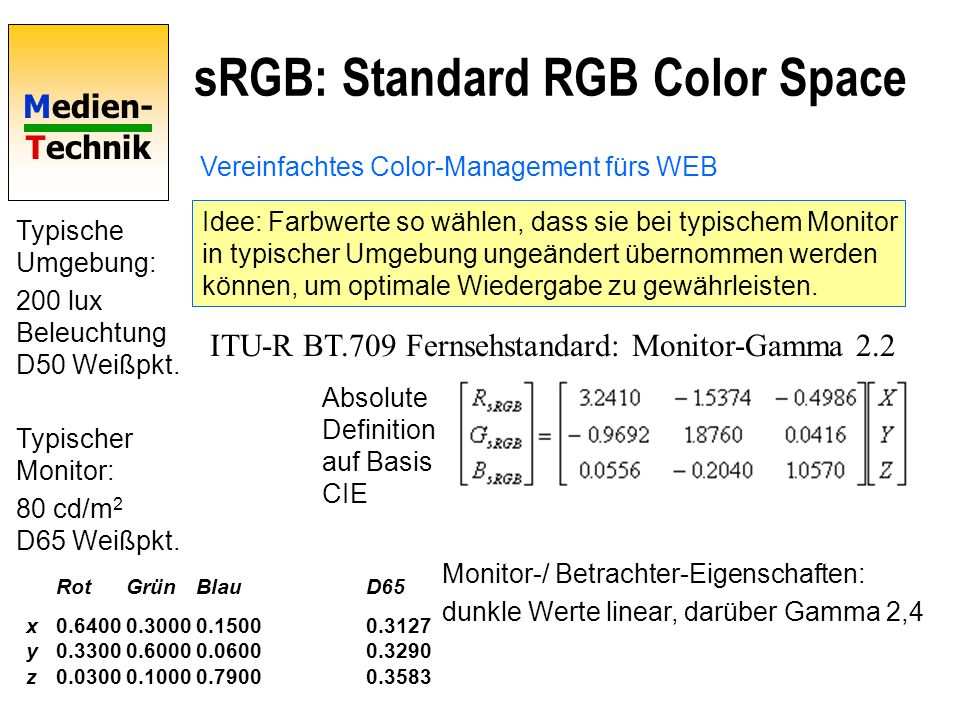 Medien- Technik sRGB: Standard RGB Color Space Vereinfachtes Color-Management fürs WEB Idee: Farbwerte so wählen, dass sie bei typischem Monitor in ty