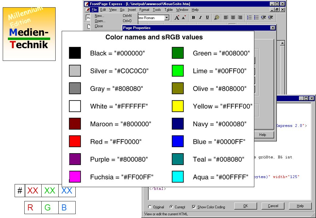 Medien- Technik Millennium Edition 10 Wie man den Hintergrund färbt #XX RGB