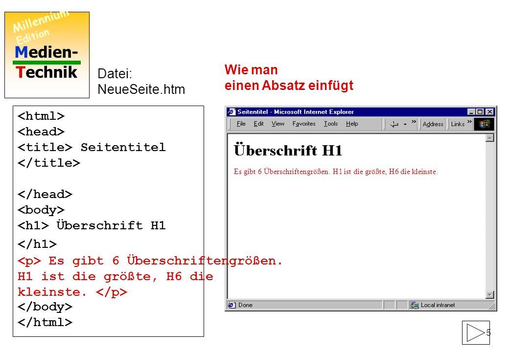 Medien- Technik Millennium Edition 4 Seitentitel Überschrift H1 Datei: NeueSeite.htm