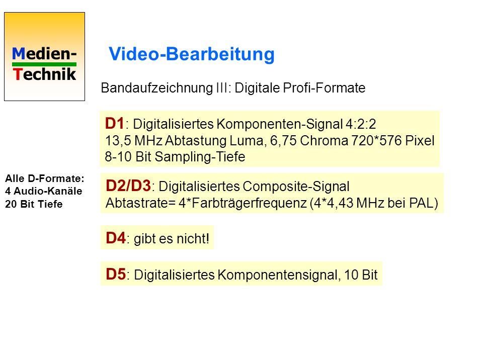 Medien- Technik Video-Bearbeitung Bandaufzeichnung III: Digitale Profi-Formate D1 : Digitalisiertes Komponenten-Signal 4:2:2 13,5 MHz Abtastung Luma,