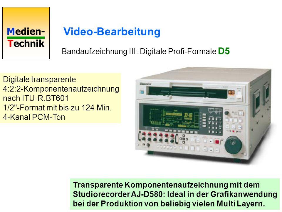 Medien- Technik Video-Bearbeitung Bandaufzeichnung III: Digitale Profi-Formate D5 Transparente Komponentenaufzeichnung mit dem Studiorecorder AJ-D580: