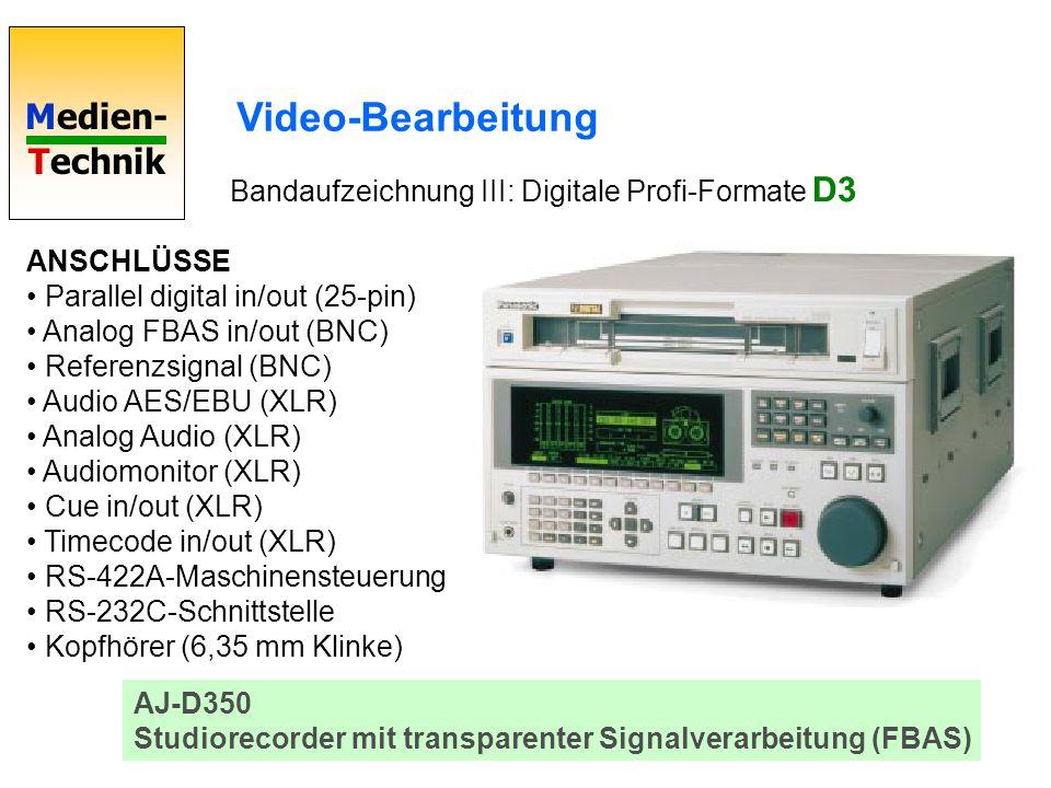 Medien- Technik Video-Bearbeitung Bandaufzeichnung III: Digitale Profi-Formate D3 AJ-D350 Studiorecorder mit transparenter Signalverarbeitung (FBAS) A