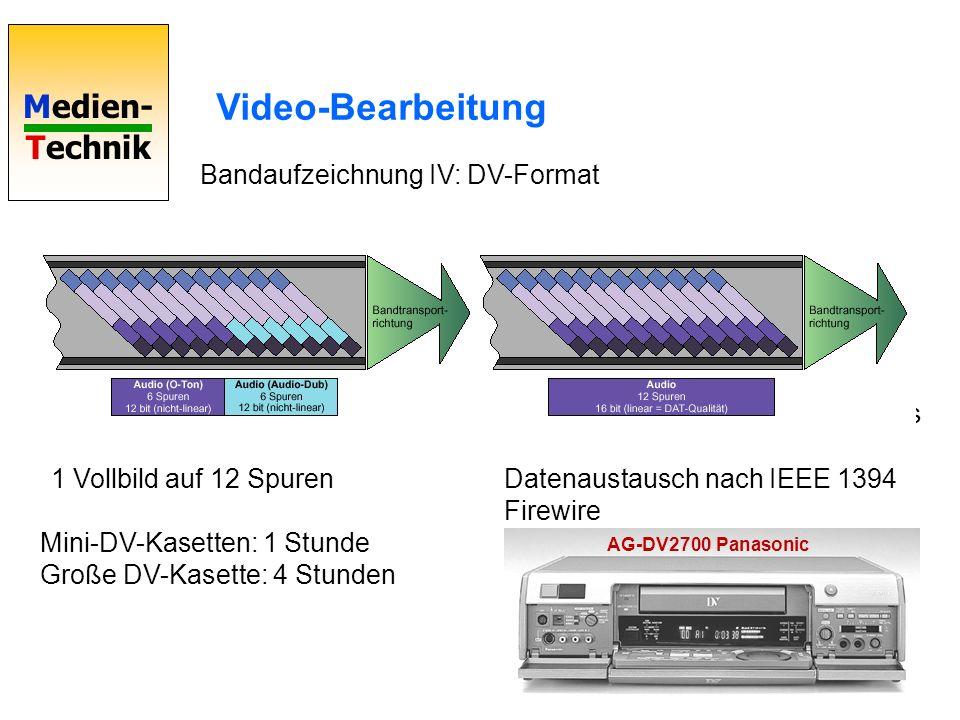 Medien- Technik Video-Bearbeitung Bandaufzeichnung IV: DV-Format Datenstrom 25 Mbit/s 1 Vollbild auf 12 Spuren Mini-DV-Kasetten: 1 Stunde Große DV-Kas