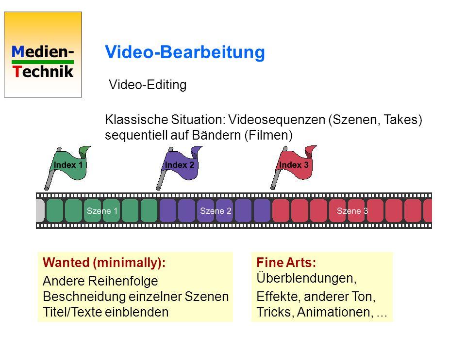 Medien- Technik Video-Bearbeitung Video-Editing Klassische Situation: Videosequenzen (Szenen, Takes) sequentiell auf Bändern (Filmen) Wanted (minimall