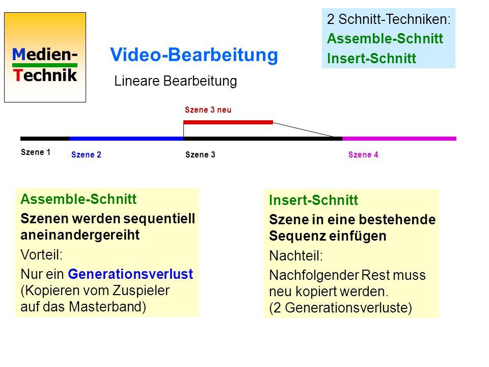 Medien- Technik Video-Bearbeitung 2 Schnitt-Techniken: Assemble-Schnitt Insert-Schnitt Assemble-Schnitt Szenen werden sequentiell aneinandergereiht Vo