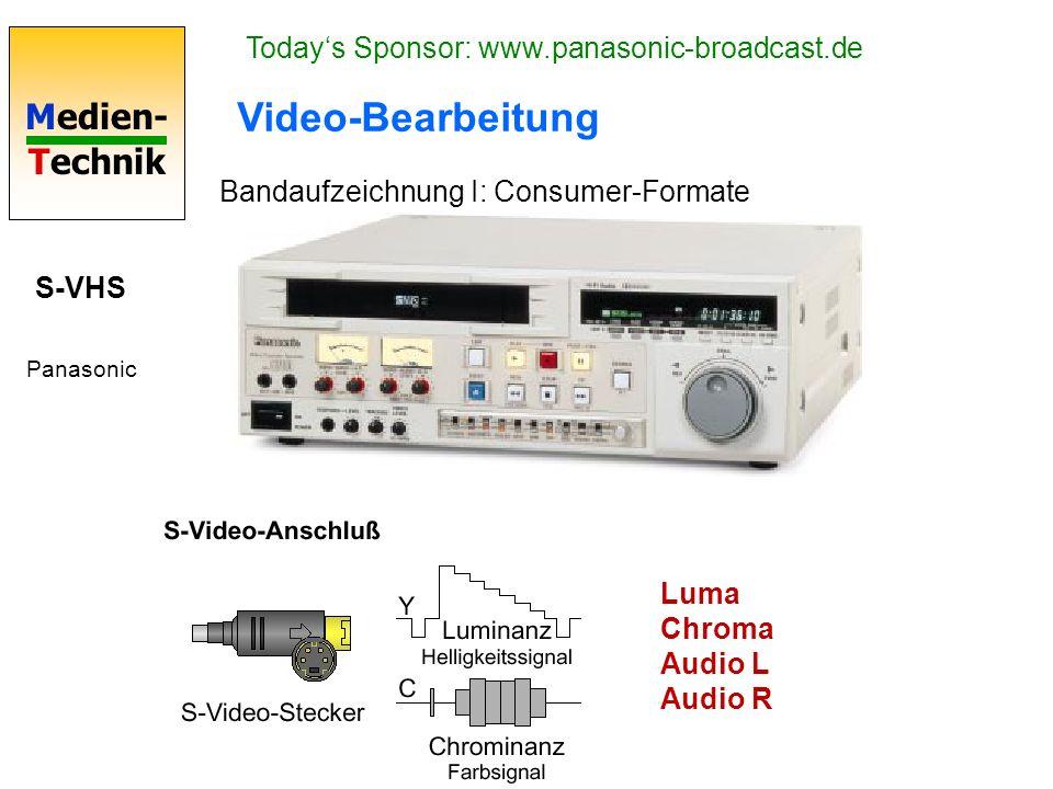 Medien- Technik Video-Bearbeitung Bandaufzeichnung I: Consumer-Formate S-VHS Panasonic Luma Chroma Audio L Audio R Todays Sponsor: www.panasonic-broad