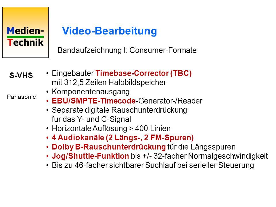 Medien- Technik Video-Bearbeitung Bandaufzeichnung I: Consumer-Formate S-VHS Panasonic Eingebauter Timebase-Corrector (TBC) mit 312,5 Zeilen Halbbilds