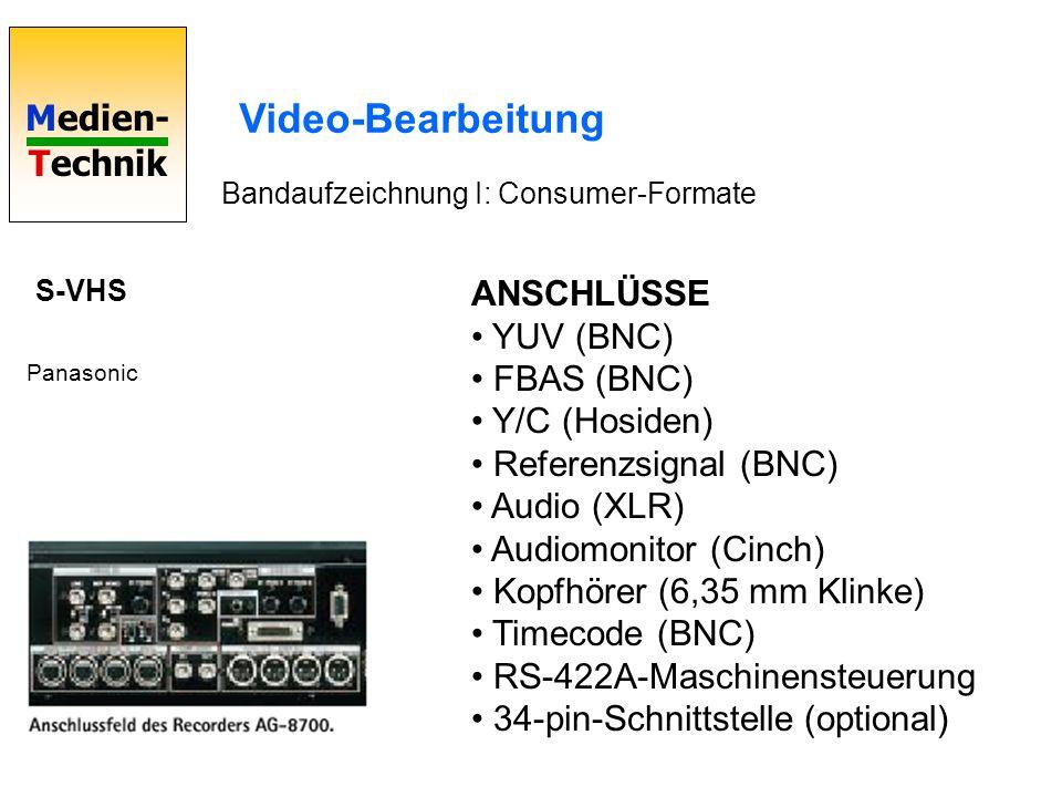 Medien- Technik Video-Bearbeitung Bandaufzeichnung I: Consumer-Formate S-VHS Panasonic ANSCHLÜSSE YUV (BNC) FBAS (BNC) Y/C (Hosiden) Referenzsignal (B
