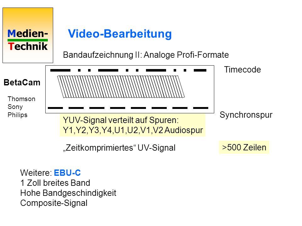 Medien- Technik Video-Bearbeitung Bandaufzeichnung II: Analoge Profi-Formate BetaCam Timecode Synchronspur >500 Zeilen Thomson Sony Philips YUV-Signal