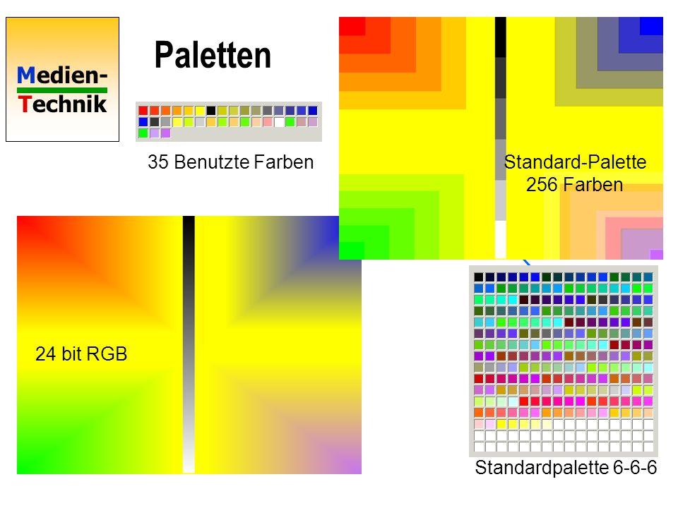 Medien- Technik Paletten 24 bit RGB Standard-Palette 256 Farben Optimierte Palette Optimierte Palette 256 Farben Berechnung optimierter Paletten durch Farb-Reduktions- Algorithmen