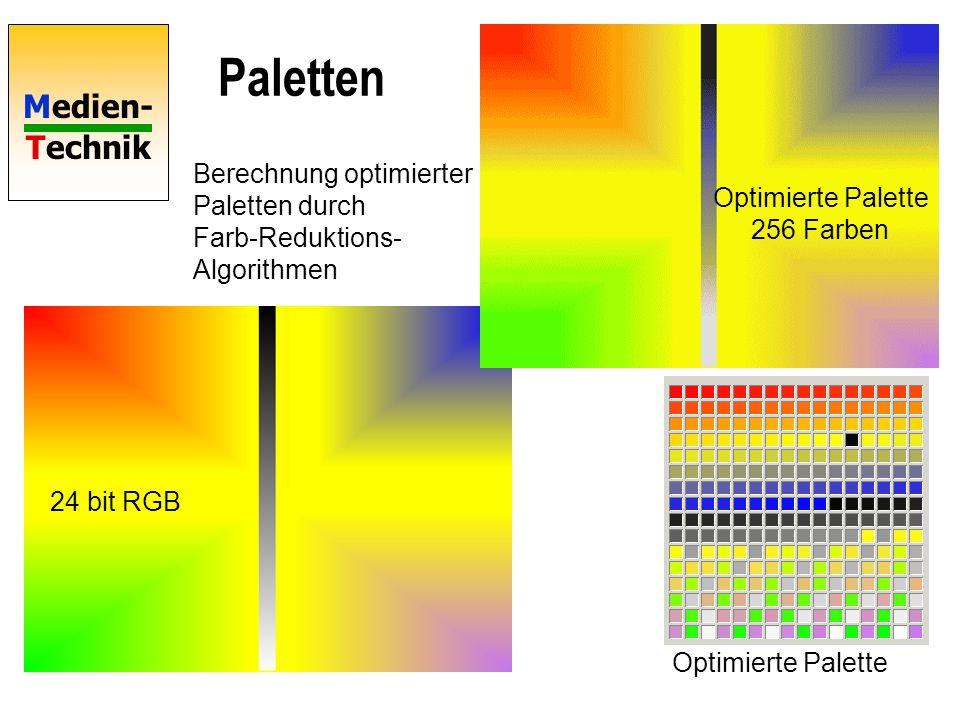 Medien- Technik Paletten 24 bit RGB Standard-Palette 256 Farben Optimierte Palette Optimierte Palette 256 Farben Berechnung optimierter Paletten durch