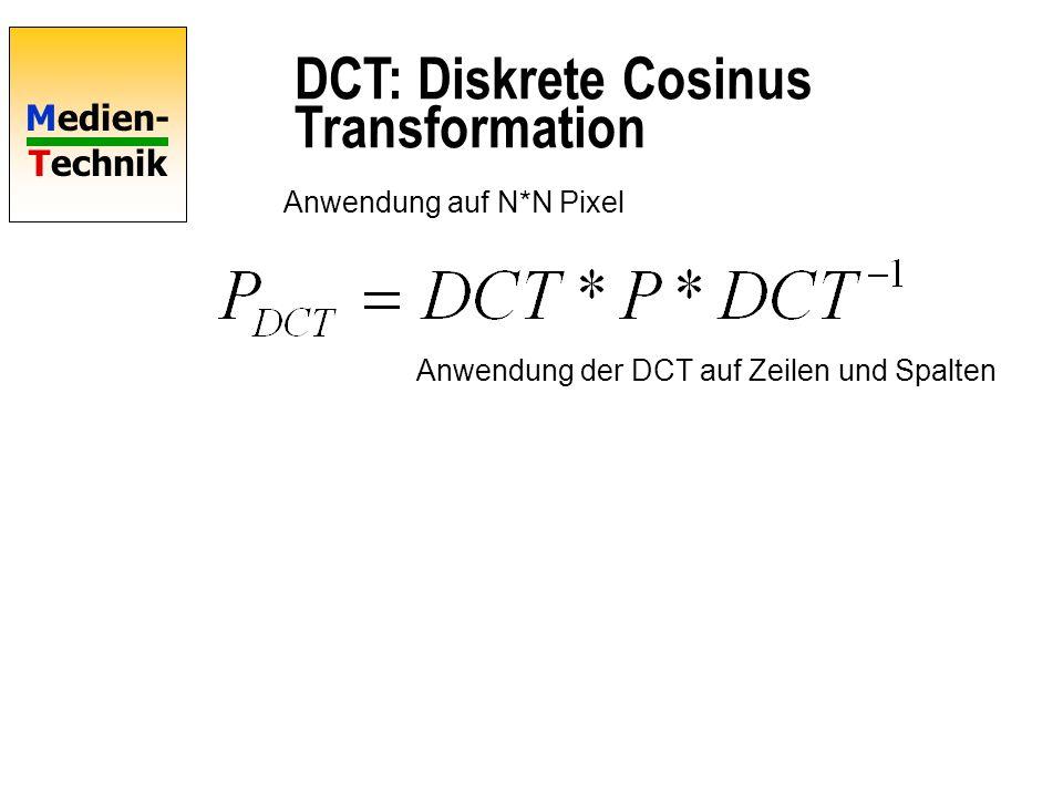 Medien- Technik DCT: Diskrete Cosinus Transformation Anwendung auf N*N Pixel Anwendung der DCT auf Zeilen und Spalten