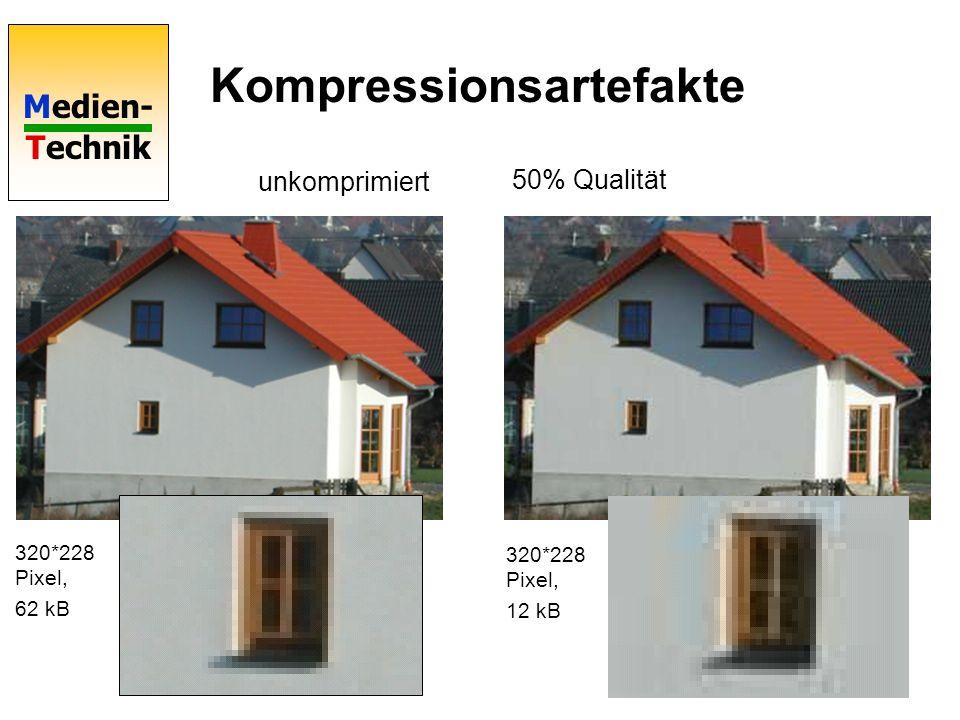 Medien- Technik Kompressionsartefakte unkomprimiert 50% Qualität 320*228 Pixel, 62 kB 320*228 Pixel, 12 kB