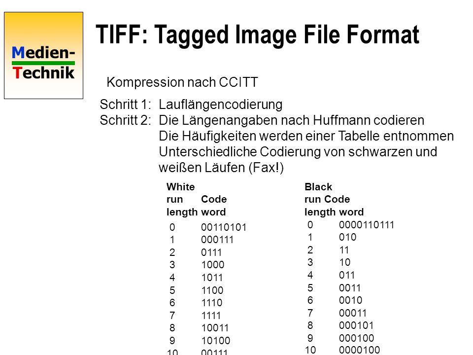 Medien- Technik TIFF: Tagged Image File Format Kompression nach CCITT Schritt 1:Lauflängencodierung Schritt 2:Die Längenangaben nach Huffmann codieren