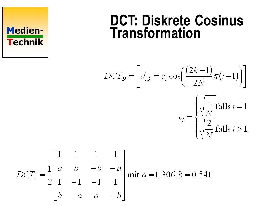 Medien- Technik DCT: Diskrete Cosinus Transformation