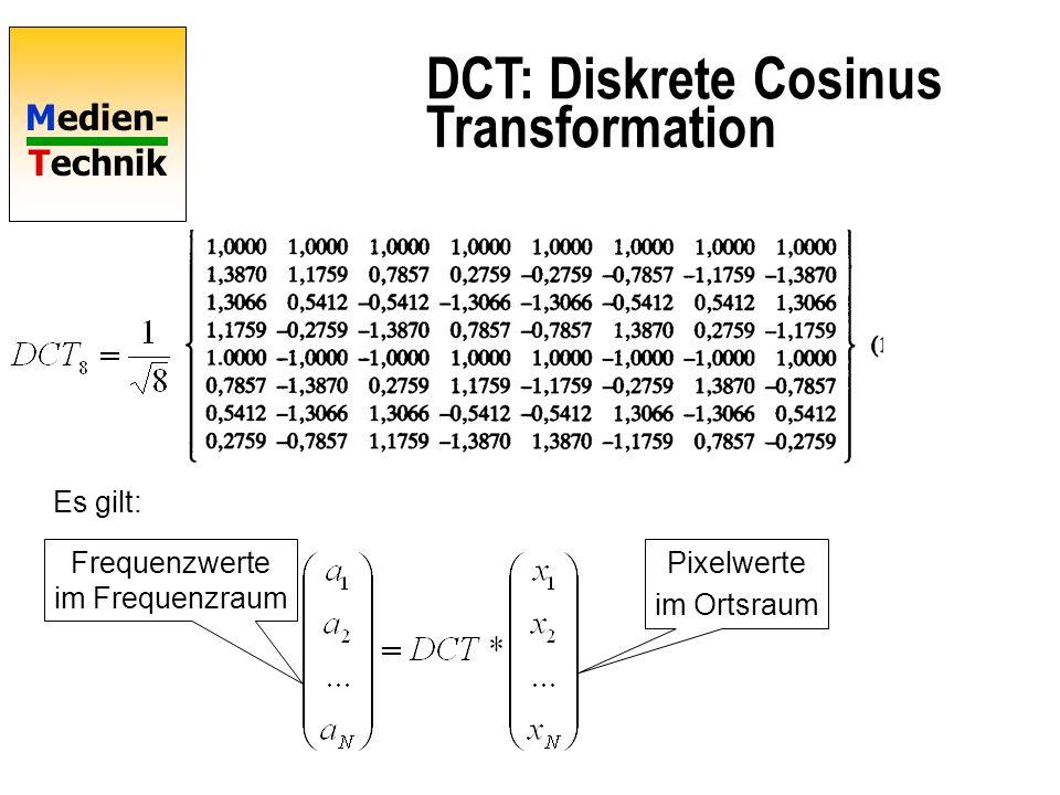 Medien- Technik DCT: Diskrete Cosinus Transformation Es gilt: Pixelwerte im Ortsraum Frequenzwerte im Frequenzraum