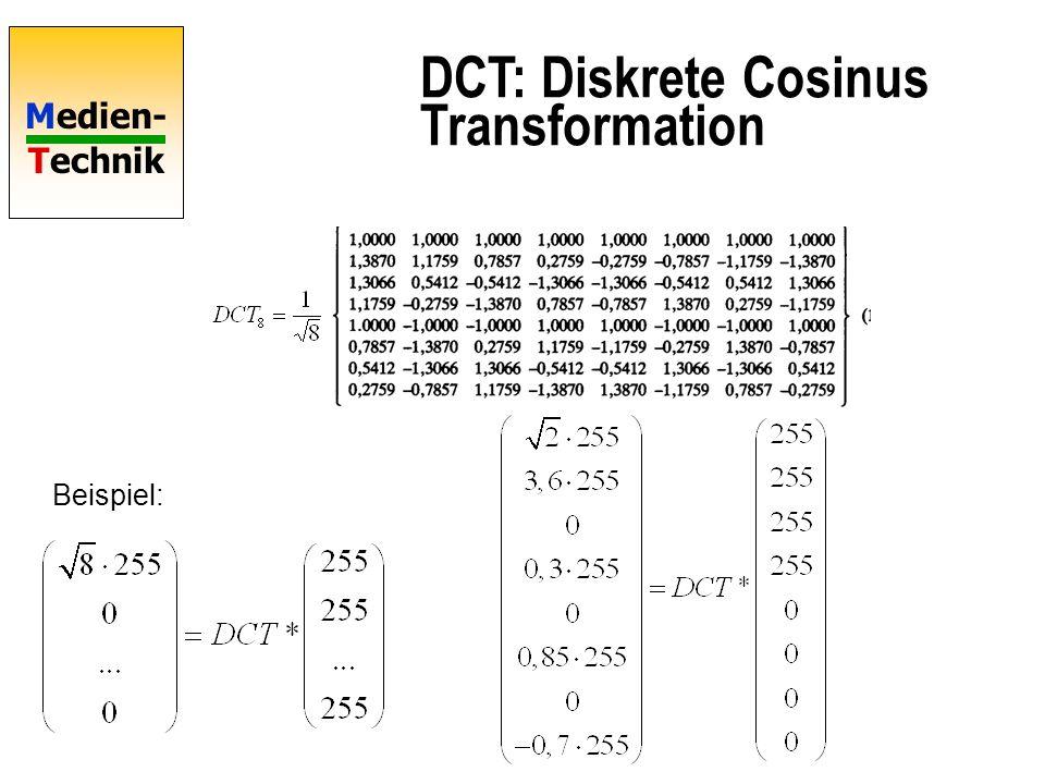 Medien- Technik DCT: Diskrete Cosinus Transformation Beispiel: